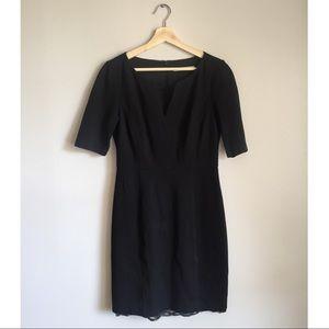 Trina Turk | Black Elbow Sleeve Dress Lace Hem